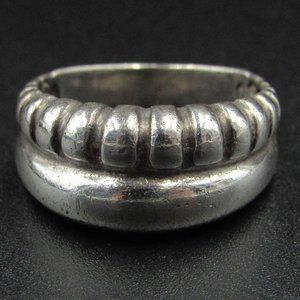 Size 7 Sterling Silver Tarnished Half Pattern Band
